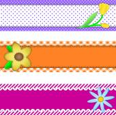 Vector eps10.  Three banners or borders of stripes, polka dots, or gingham with flowers, accent quilt stitches and plenty of copy space. — Stock Vector