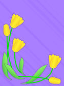 Vector eps10  Purple copy space with a border of yellow tulips accented with quilting stitches. — Stock Vector