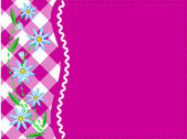 Vector eps8.  Pink copy space with gingham and ric rac trim topped with blue cornflowers and quilting stitches. — Stock Vector