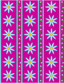 Vector eps10.  Pink wallpaper background with blue cornflowers accented by blue stripes and quilting stitches. — Vector de stock