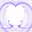 White Heart Copy Space surrounded by purple fractal design. — Stock Photo #55739545