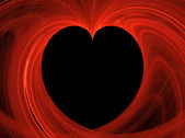 Black Heart Copy Space surrounded by red fractal design. — Stock Photo