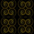Seamless continuous background, textile pattern or wallpaper in yellow and brown on a black background that looks like rams horns. — Stock Photo #55839405