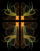 Fractal crucifix with hearts in green, gold and orange on a black background. — Stock Photo