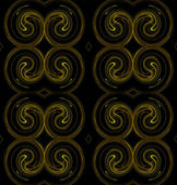 Seamless continuous background, textile pattern or wallpaper in yellow and brown on a black background that looks like rams horns. — Stock Photo