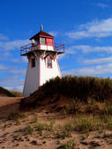 Red and white lighthouse on Prince Edward Island, Canada. — Foto Stock