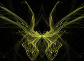 Abstract fractal illusion of yellow butterfly wings on a black background. — Stockfoto