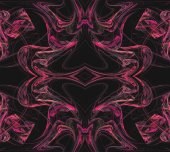 Continuous fractal textile pattern in pinks on a black background. — Stock Photo