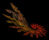 Frond shaped fractal in fall colors of red, orange, gold, and Yellow on a black background. — 图库照片