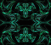 Continuous fractal pattern in green on a black background. — Stock Photo