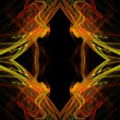 Diamond shaped continuous fractal pattern in yellow and red on a black background. — Stock Photo #56022995