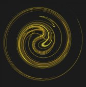The motion of something gold and yellow spiraling or swirling on a black background. — Stock Photo
