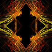 Diamond shaped continuous fractal pattern in yellow and red on a black background. — Stock Photo