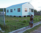 Children in Front of Home in Antigua Barbuda — Stock Photo