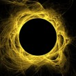 Yellow fractal eclipse with solar flares on a black background. — Foto Stock #56208655