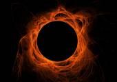 Orange fractal eclipse with solar flares on a black background. — Foto Stock
