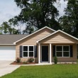One story residential low income home with vinyl siding on the facade. — Stock Photo #56286757