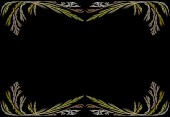 Leafy gold and pink fractal frame or border with black copy space. — Stock Photo