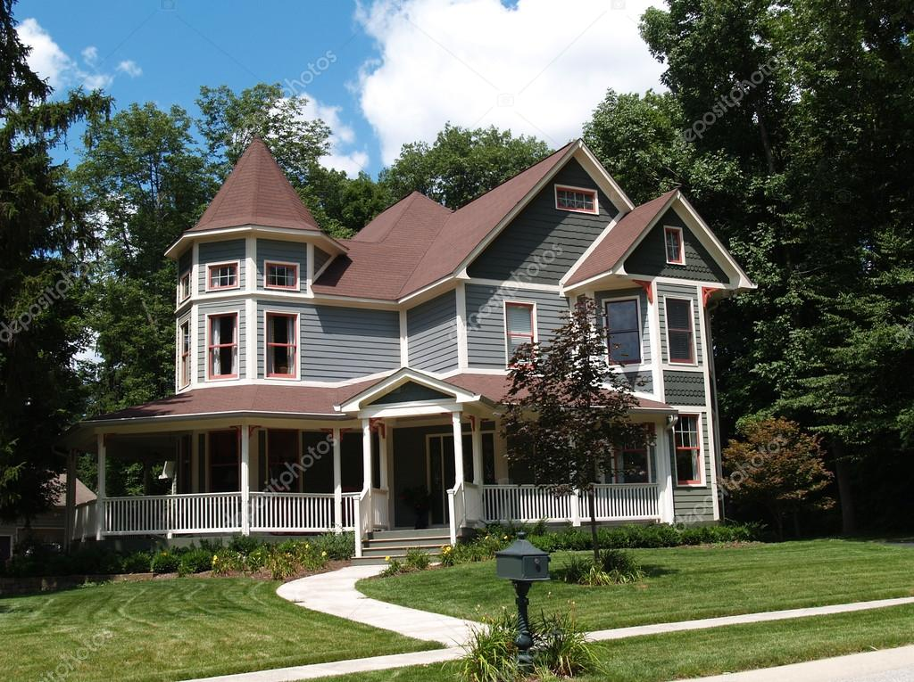 New Two Story Victorian Residential Home With Vinyl Or