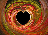 A black heart surrounded by swirls of reds. — Stock Photo