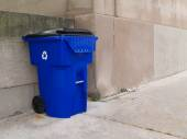 Large blue trash can with lid and wheels on an outdoor sidewalk in a city park. — Stock Photo