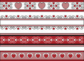 Red, black and white Valentine borders with gingham trim. — Stock Photo