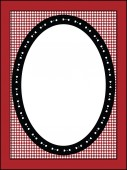 Red, black and white Valentine border, frame or tag with gingham trim. — Zdjęcie stockowe