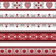 Vector of four red, black and white Valentine borders with gingham trim. — Stok Vektör #56772677