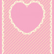 Vector in pink, gold and ecru stripes with Victorian eyelet trim & a heart shaped copy space. — Stock Vector #56774287