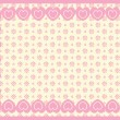 Vector background of Victorian eyelet with a border of double hearts and plenty of copy space in shades of pink & ecru. — Stock Vector #56774305