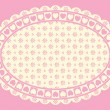 Oval Vector Heart border with Victorian eyelet copy space in shades of pink and ecru. — Stock Vector #56774441