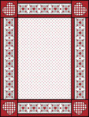 Red, black and white vector Valentine border, frame or tag with gingham trim. — Stock Vector