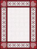 Rode, zwarte en witte vector Valentine grens, frame of label met pastel trim. — Stockvector