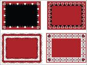 Four red, black and white vector Valentine borders, frames or tags with gingham trim. — Stock Vector