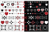 Red, black and white vector valentine designs with gingham trim in a variety of color combinations. — Stock Vector