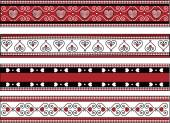Vector of four red, black and white Valentine borders with gingham trim. — Stock Vector