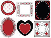 Six red, black and white vector Valentine borders, frames or tags with gingham trim. — Stock Vector