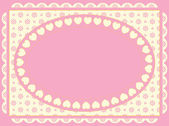 Oval vector frame of hearts on a Victorian eyelet background in shades of pink, gold and ecru. — Stock Vector