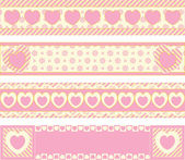 Four vector borders with Victorian eyelet hearts and stripes in pink, gold & ecru. — Vetorial Stock