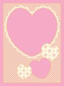 Vector with four Victorian eyelet trimmed heart copy spaces on striped background in shades of pink, gold and ecru. — Vettoriale Stock