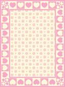 Vector heart border with Victorian eyelet copy space in shade of pink and ecru. — Vetorial Stock