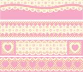 Four vector borders with Victorian eyelet hearts and stripes in pink, gold & ecru. — Stock Vector