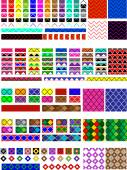 Vector eps8.  5 Different swatch patterns in multiple colors ready to drag & drop in your swatch or brush pallets, which are easily editable to the colors you want. Fill and brush examples are shown. — Stockvektor