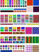 Vector eps8.  5 Different swatch patterns in multiple colors ready to drag & drop in your swatch or brush pallets, which are easily editable to the colors you want. Fill and brush examples are shown. — Stok Vektör