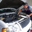 Auto mechanic performing a routine service inspection in a service garage. — Stock Photo #56963159
