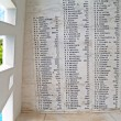 ������, ������: Names on the wall of the USS Arizona Memorial beside a unique window at Pearl Harbor in Honolulu Hawaii