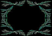 Leafy teal or green fractal frame or border with black copy space. — Stock Photo