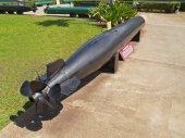 Black torpedo displayed in Pearl Harbor, Hawaii. — Foto Stock