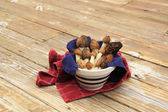 Wild Morel Mushrooms in a Crock with Towels — Stock Photo