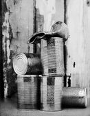 Tins cans stacked — Stock Photo